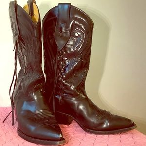 Vintage Rudel Black Leather Cowboy Boots